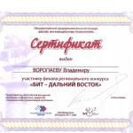 сертификат за 2-е место в конкурсе БИТ